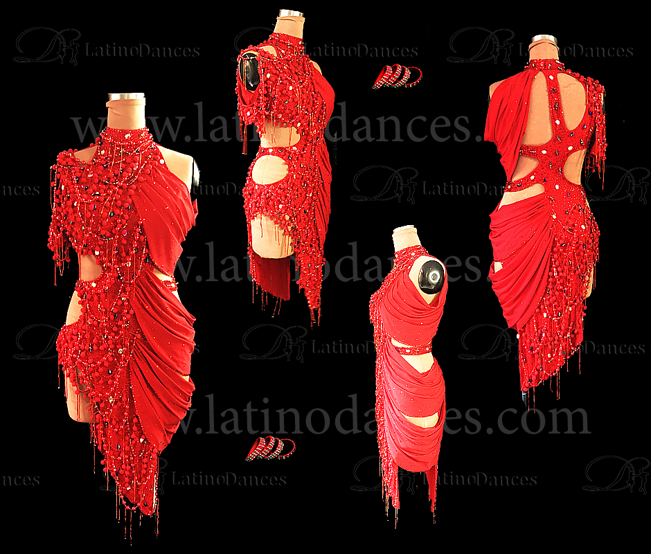 LATIN DANCE TAILORED DRESS WITH HIGH QUALITY STONES M628