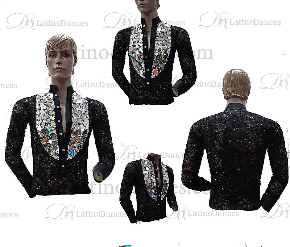 MEN'S LATIN SHIRT WITH HIGH QUALITY STONES DB222