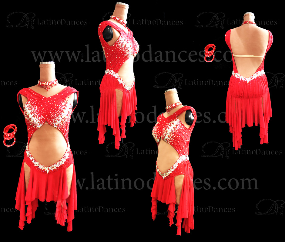 LATIN DANCE TAILORED DRESS WITH HIGH QUALITY STONES M605