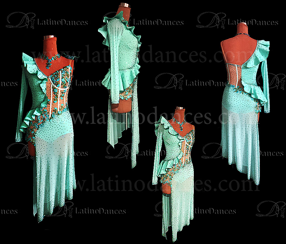 LATIN DANCE TAILORED DRESS WITH HIGH QUALITY STONES M658