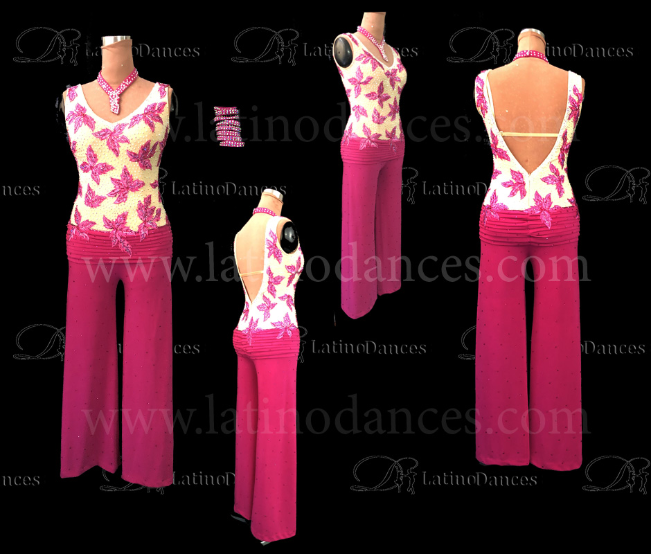 Latin  Dance Tailored Jumpsuit With High Quality stones M537