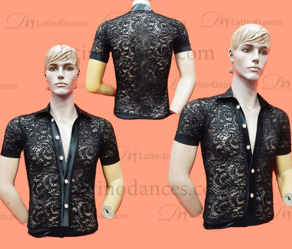 MEN'S LATIN SHIRT WITH HIGH QUALITY STONES DB218