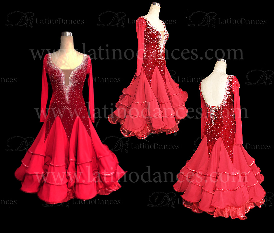STANDARD/SMOOTH BALLROOM DRESS WITH HIGH QUALITY ST327