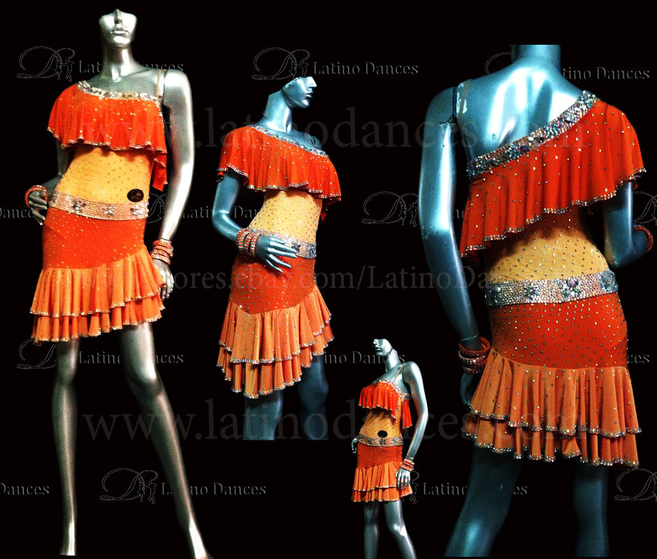 LATIN DRESS WITH HIGH QUALITY STONES  M306A