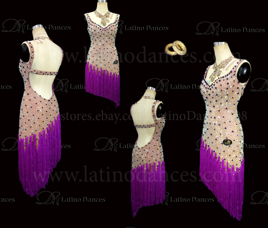 Latin  Dance Tailored Dress With High Quality stones M518