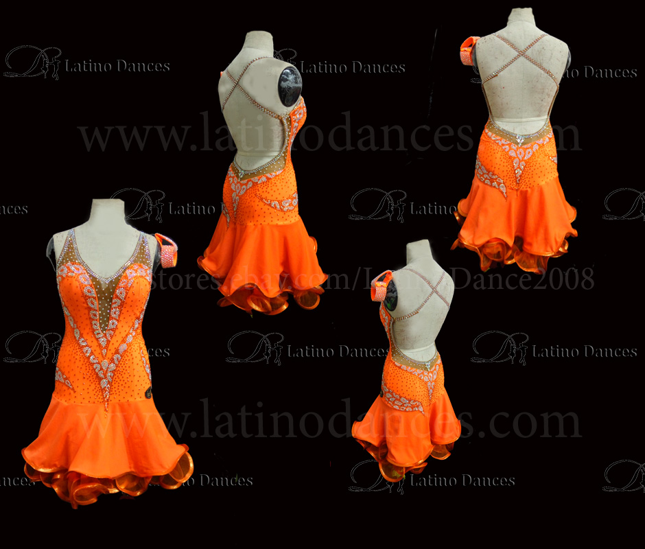 Latin  Dance Tailored Dress With High Quality stones M542