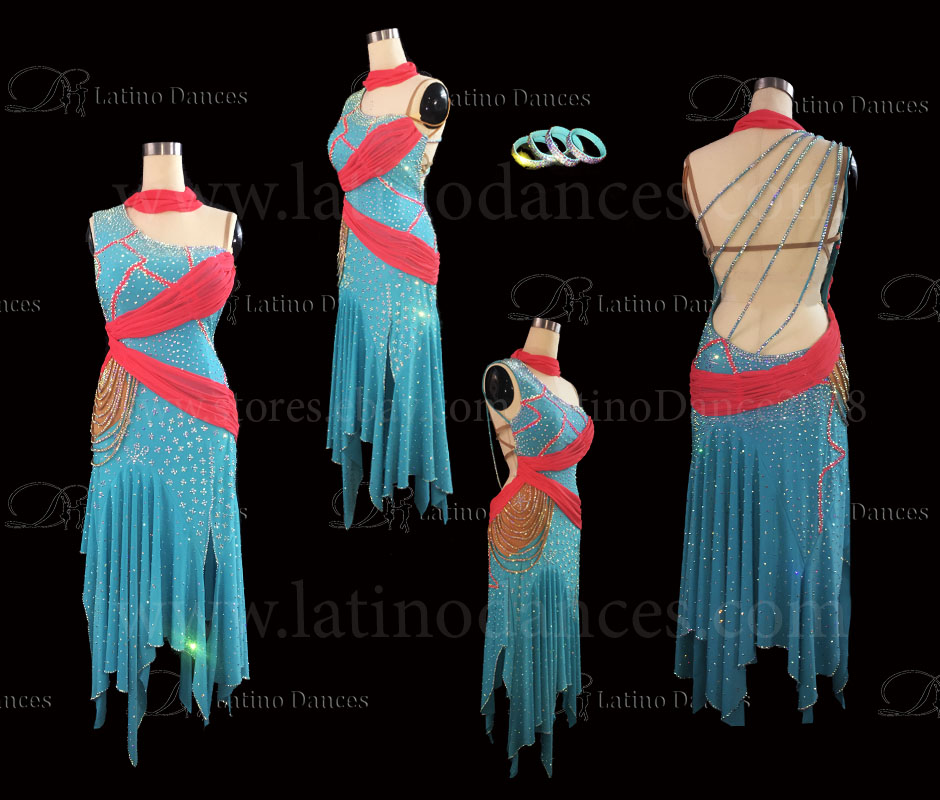 Latin  Dance Tailored Dress With High Quality stones M556