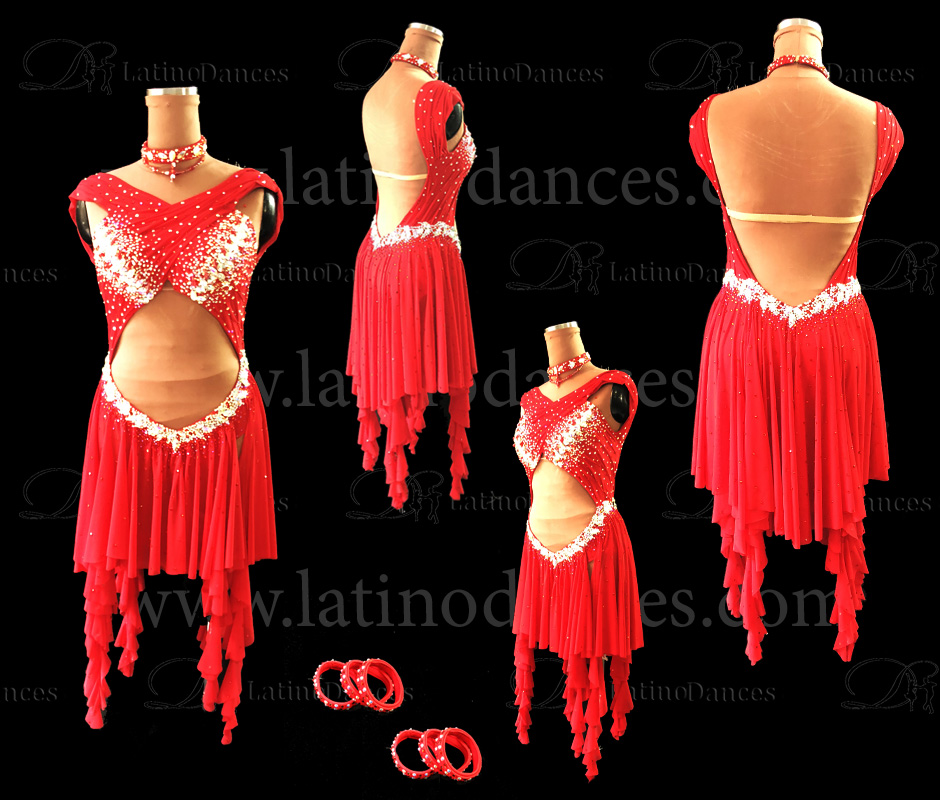 LATIN DANCE TAILORED DRESS WITH HIGH QUALITY STONES M605B