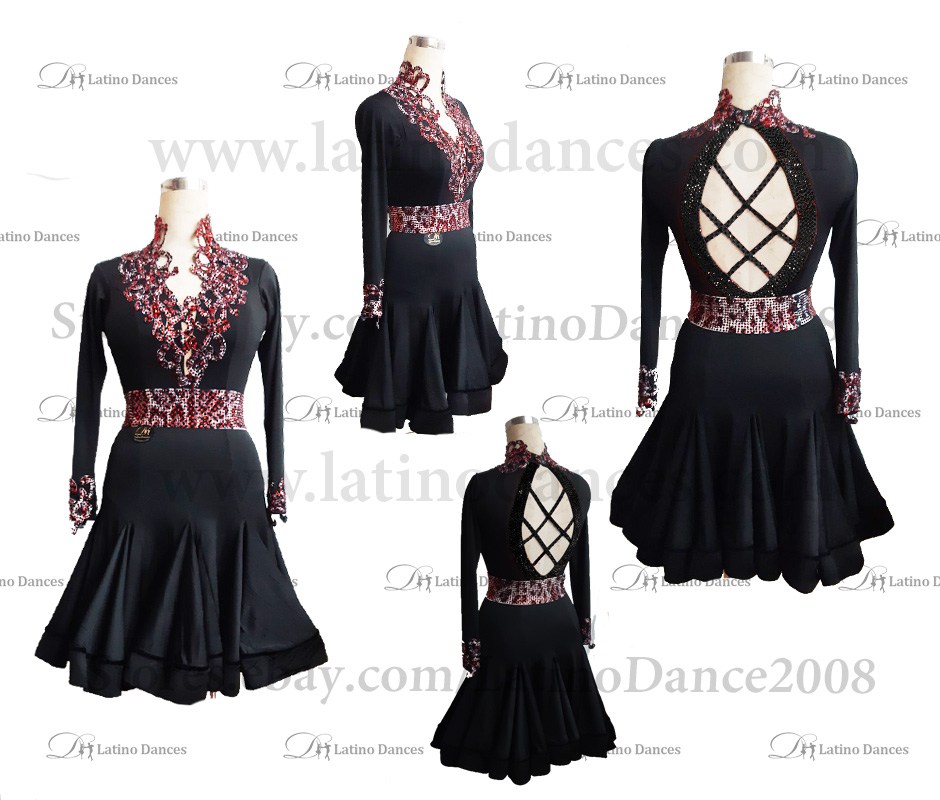 LATIN DANCE TAILORED DRESS WITH HIGH QUALITY STONES M512B