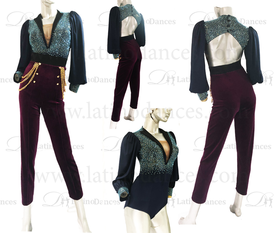 JUMPSUITS LATIN SALSA WITH HIGH QUALITY STONES J19