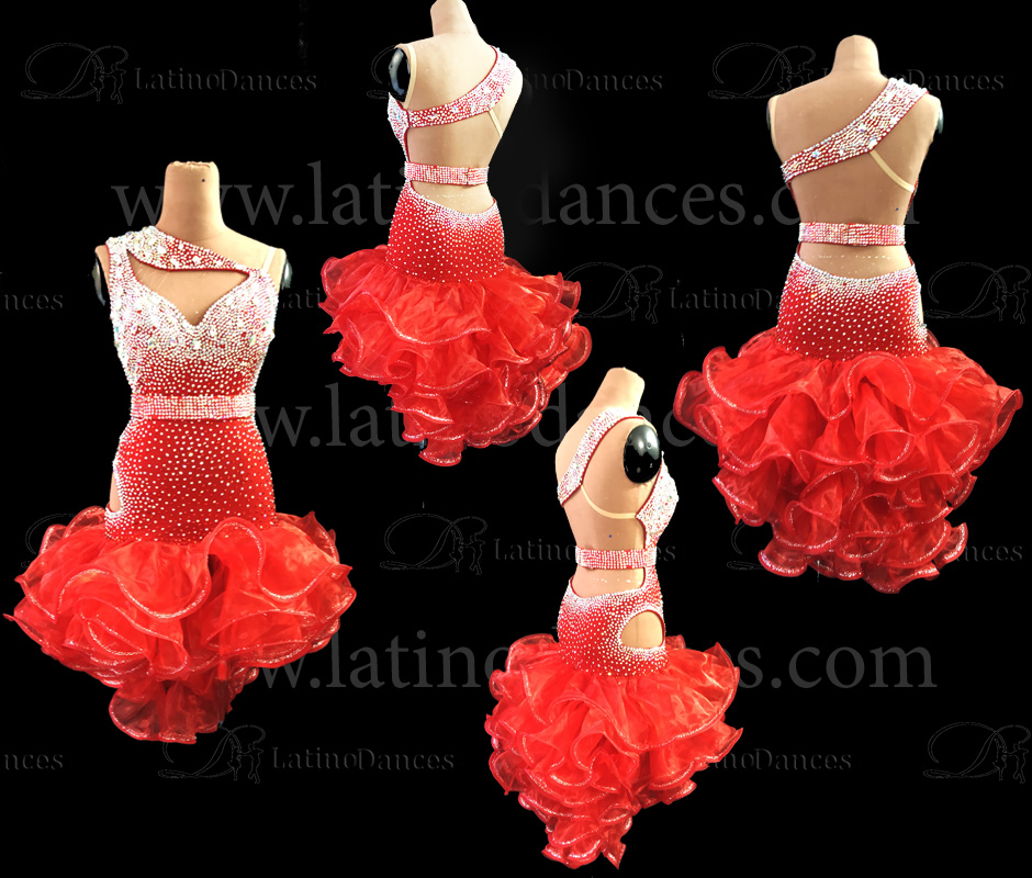 LATIN DANCE DRESS WITH HIGH QUALITY STONES M584B