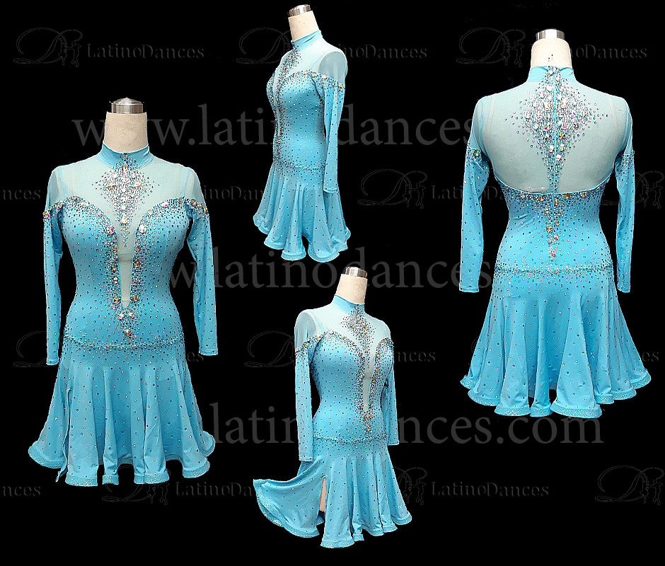 LATIN DANCE TAILORED DRESS WITH HIGH QUALITY STONES M644