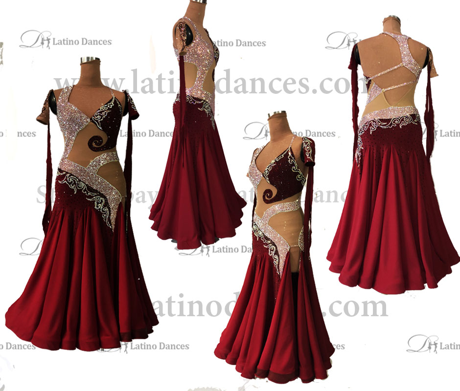 STANDARD / SMOOTH/ BALLROOM DRESS WITH HIGH QUALITY ST349
