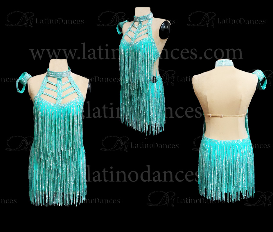 LATIN DANCE TAILORED DRESS WITH HIGH QUALITY STONES M610