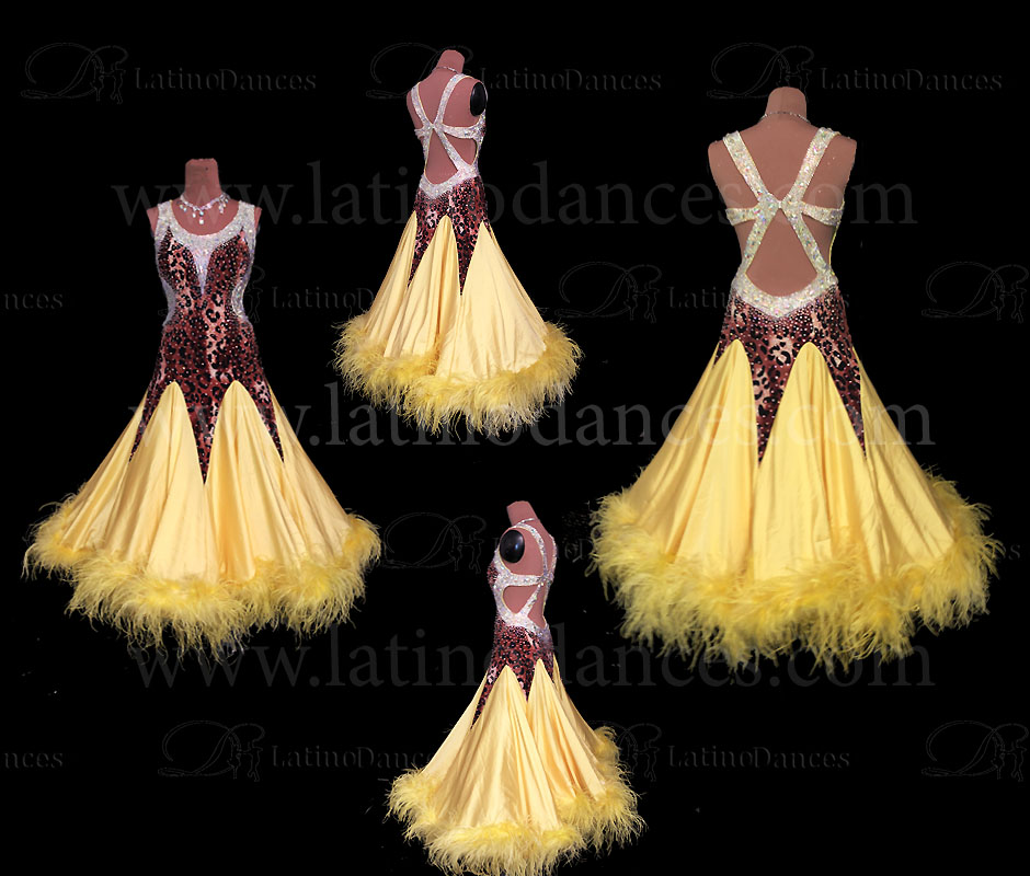 BALLROOM / SMOOTH / STANDARD DRESS WITH OSTRICH FEATHERS. ST368