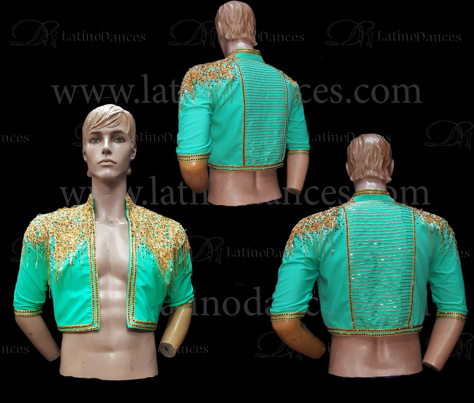 MEN'S JACKET LATIN BODY/SHIRT WITH HIGH QUALITY STONES DB136B