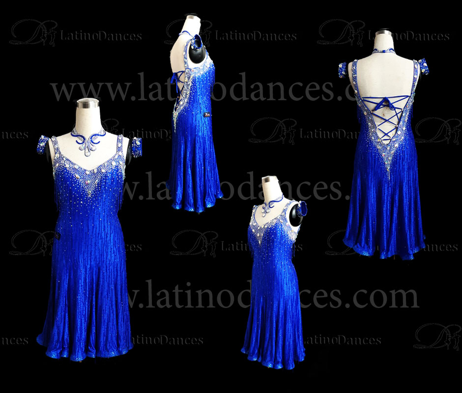LATIN DANCE TAILORED DRESS WITH HIGH QUALITY STONES M563B