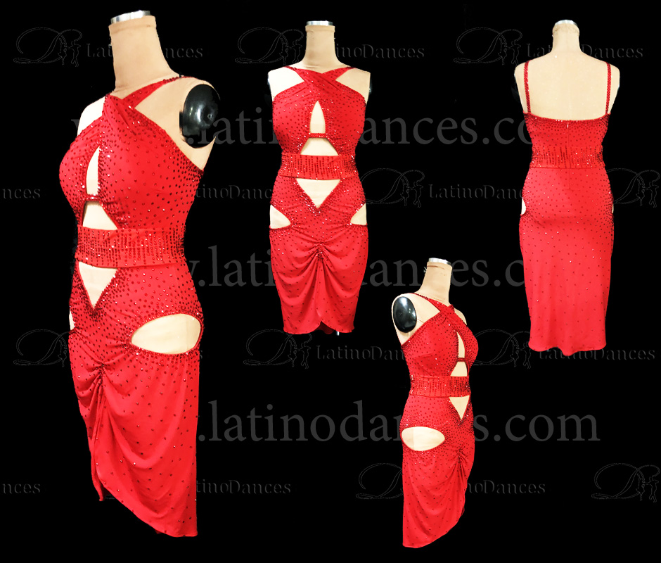 LATIN DANCE TAILORED DRESS WITH HIGH QUALITY STONES M616