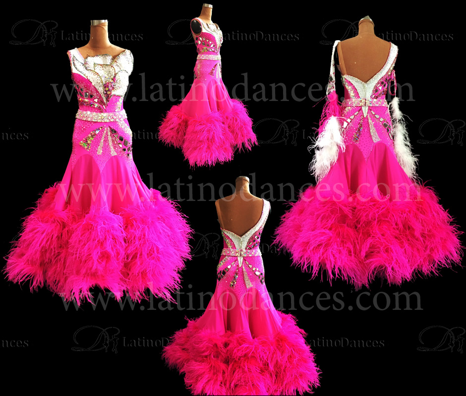 BALLROOM/ STANDARD/ SMOOTH/ OSTRICH FEATHER DRESS ST338