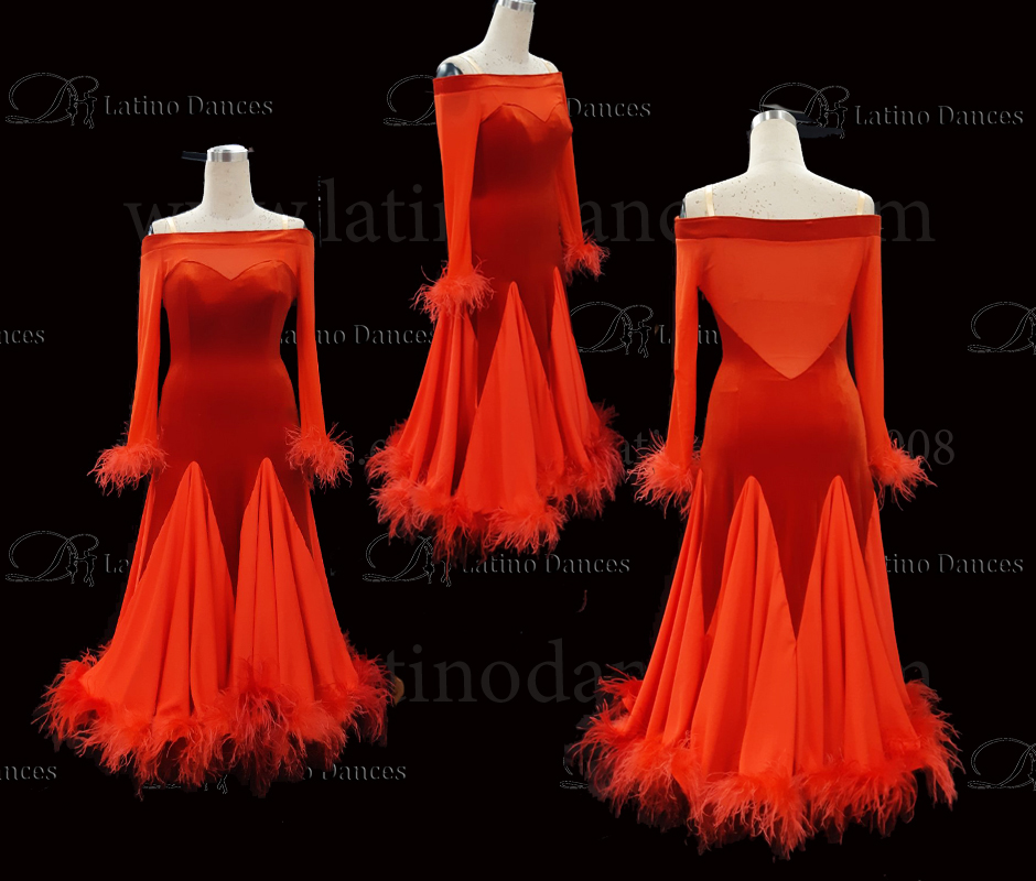 BALLROOM/ STANDARD/ SMOOTH/ OSTRICH FEATHER DRESS ST340