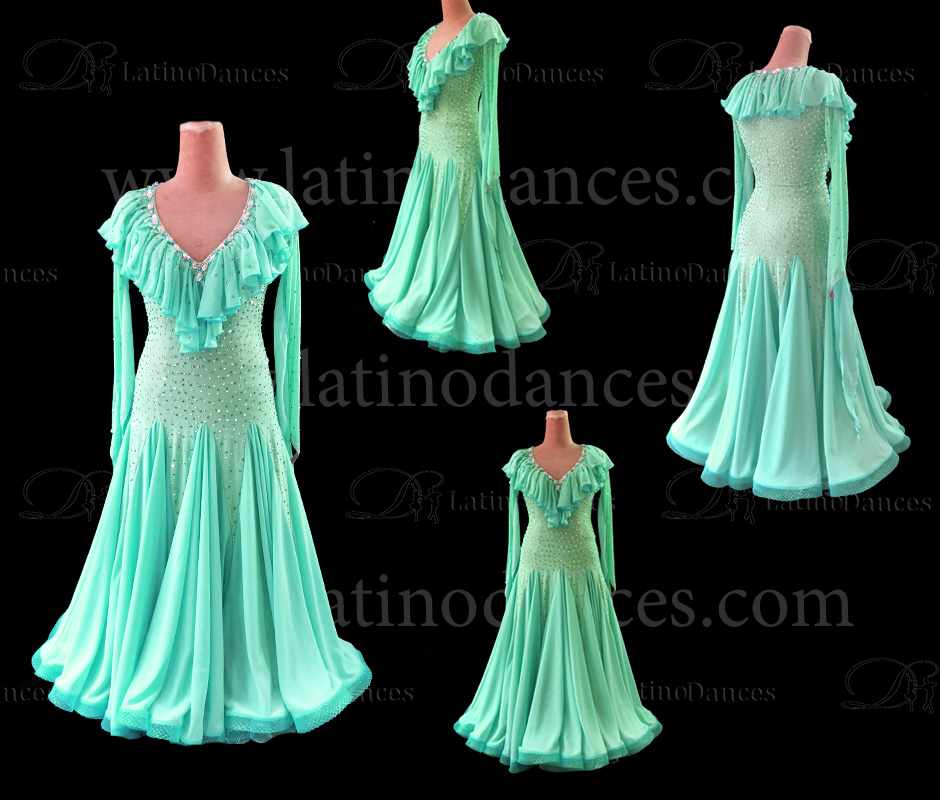 BALLROOM DANCE TAILORED DRESS WITH HIGH QUALITY STONES ST310