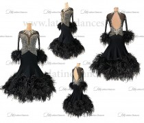 STANDARD/SMOOTH/BALLROOM DRESS WITH  OSTRICH FEATHERS ST335