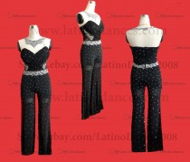 JUMPSUIT LATIN DRESS WITH HIGH QUALITY RHINESTONES J11B