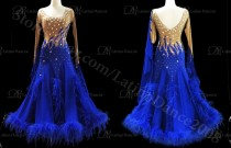 Feather Ballroom / Standard Waltz Dance Dress With High Quality stone ST58B