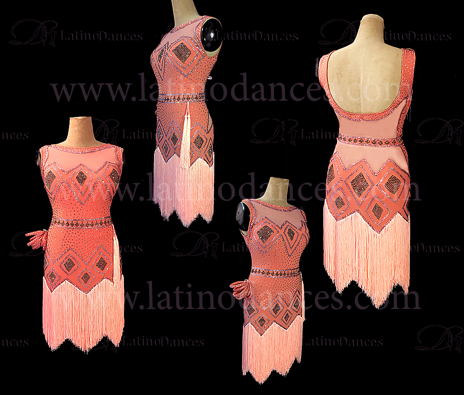 LATIN DANCE TAILORED DRESS WITH HIGH QUALITY STONES M604